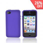 AT&amp;T/Verizon Apple iPhone 4, iPhone 4S Rubberized Hard Case over Silicone - Black/Purple