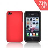 Luxmo Apple Verizon/ AT&amp;T iPhone 4, iPhone 4S Rubberized Hard Case w/ Silicone Case - Red/Black