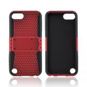 Apple iPod Touch 5 Rubberized Hard Case Over Silicone w/Stand - Red Mesh on Black
