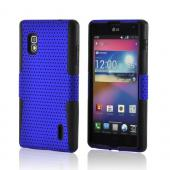 Blue Mesh on Black Silicone Hard Case for LG Optimus G (AT&amp;T)