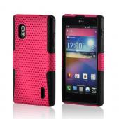 Hot Pink Mesh on Black Silicone Hard Case for LG Optimus G (AT&amp;T)