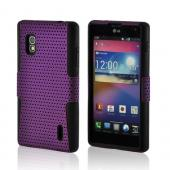 Purple Mesh on Black Silicone Hard Case for LG Optimus G (AT&amp;T)
