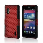 Red Mesh on Black Silicone Hard Case for LG Optimus G (AT&amp;T)