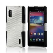 White Mesh on Black Silicone Hard Case for LG Optimus G (AT&amp;T)