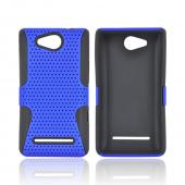 LG Lucid 4G Rubberized Hard Case Over Silicone - Blue Mesh on Black