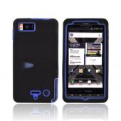 Motorola Droid X2 MB870 Rubberized Hard Case w/ Stand & Silicone Case - Blue/ Black