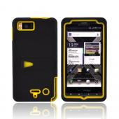 Motorola Droid X2 MB870 Rubberized Hard Case w/ Stand & Silicone Case - Yellow/ Black