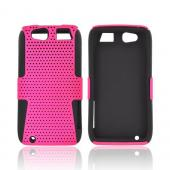 Motorola Atrix HD Rubberized Hard Case Over Silicone - Hot Pink Mesh on Black