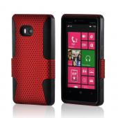 Red Mesh on Black Silicone Hybrid Case for Nokia Lumia 810