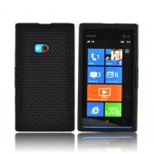 Nokia Lumia 900 Rubberized Hard Case Over Silicone - Black Mesh on Black