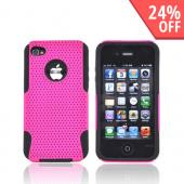 AT&T/ Verizon Apple iPhone 4, iPhone 4S Rubberized Hard Case Over Silicone - Hot Pink Mesh on Black
