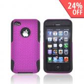 AT&amp;T/ Verizon Apple iPhone 4, iPhone 4S Rubberized Hard Case Over Silicone - Purple Mesh on Black