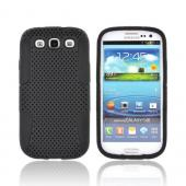 Samsung Galaxy S3 Rubberized Hard Case Over Silicone - Black Mesh on Black
