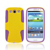 Samsung Galaxy S3 Rubberized Hard Case Over Silicone - Yellow Mesh on Purple