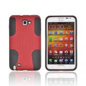 Samsung Galaxy Note Rubberized Hard Case Over Silicone - Red Mesh on Black