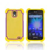 Samsung Galaxy S2 Skyrocket Perforated Hybrid Hard Cover Over Silicone Case - Yellow/ Purple