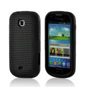Black Mesh on Black Rubberized Hard Case Over Silicone for Samsung Galaxy Stellar