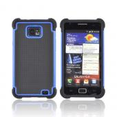 AT&amp;T Samsung Galaxy S2 Perforated Hybrid Hard Cover Over Silicone Case - Black/ Blue