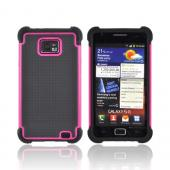 AT&amp;T Samsung Galaxy S2 Perforated Hybrid Hard Cover Over Silicone Case - Black/ Pink