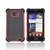 AT&amp;T Samsung Galaxy S2 Perforated Hybrid Hard Cover Over Silicone Case - Black/ Red