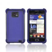 AT&amp;T Samsung Galaxy S2 Perforated Hybrid Hard Cover Over Silicone Case - Navy Blue/ Black