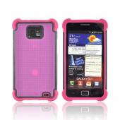 AT&amp;T Samsung Galaxy S2 Perforated Hybrid Hard Cover Over Silicone Case - Hot Pink/ Black