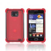 AT&T Samsung Galaxy S2 Perforated Hybrid Hard Cover Over Silicone Case - Red/ Black