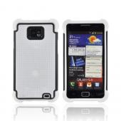 AT&amp;T Samsung Galaxy S2 Perforated Hybrid Hard Cover Over Silicone Case - White/ Black