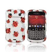 Blackberry Bold 9900, 9930 Rubberized Hard Case w/ Bling - Red/ Black Ladybugs on Silver