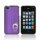AT&T/ Verizon Apple iPhone 4, iPhone 4S Rubberized Hard Case w/ Aluminum Back & Cute Girl w/ Bow Engraving - Purple/ Black