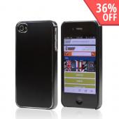 AT&amp;T/ Verizon Apple iPhone 4, iPhone 4S Rubberized Hard Case w/ Aluminum Back - Black