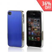 AT&amp;T/ Verizon Apple iPhone 4, iPhone 4S Rubberized Hard Case w/ Aluminum Back - Blue/ Black
