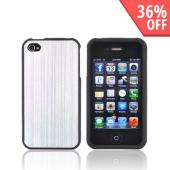 AT&T/ Verizon Apple iPhone 4, iPhone 4S Rubberized Hard Case w/ Aluminum Back - Silver/ Black