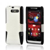 White Mesh on Black Rubberized Hard Case on Silicone for Motorola Droid RAZR M