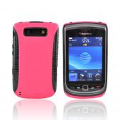 Blackberry Torch 9800 Hard Back Over Crystal Silicone Case - Black/Hot Pink (BACK COVER ONLY)