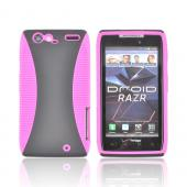 Motorola Droid RAZR Hard Back Over Crystal Silicone Case - Hot Pink/ Black