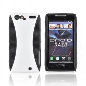 Motorola Droid RAZR Hard Back Over Crystal Silicone Case - Solid White/ Black