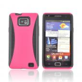 AT&amp;T Samsung Galaxy S2 Rubberized Hard Back Over Crystal Silicone Case - Hot Pink/ Black
