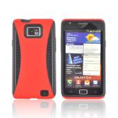 AT&amp;T Samsung Galaxy S2 Rubberized Hard Back Over Crystal Silicone Case - Red/ Black