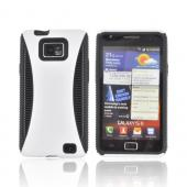 AT&T Samsung Galaxy S2 Rubberized Hard Back Over Crystal Silicone Case - White/ Black