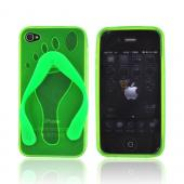 AT&amp;T Apple iPhone 4 Crystal Silicone Case - Neon Green Flip Flop
