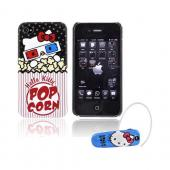 AT&T / Verizon iPhone 4, iPhone 4S Hello Kitty Essential Bundle Package w/ Hello Kitty 3D Glasses Popcorn Case & Earloomz Hello Kitty Face Bluetooth