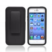Apple iPhone 5 Hybrid Hard Case w/ Aluminum Back Over Silicone &amp; Holster Stand - Black
