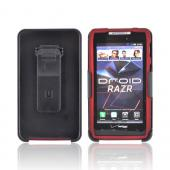 Motorola Droid RAZR Rubberized Case w/ Screen Protector &amp; Holster Stand Combo - Red/ Black