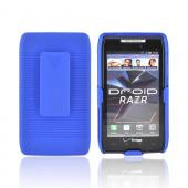 Motorola Droid RAZR/ RAZR MAXX Rubberized Hard Case w/ Holster Stand - Blue