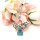 Angel Cell Phone Charm/Strap w/ Pen Ornament Ring - Baby Blue