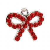 Universal 3.5mm Headphone Jack Stopple Charm - Red Pearl Bow Tie