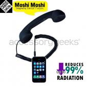 &quot;MoshiMoshi&quot; Retro Soft Touch Telephone Handset for Cell Phones, (3.5mm) Audio Jack - Black