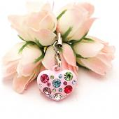 Heart Cellphone Charm/Strap w/ Multi Colored Embedded Gems - Pink