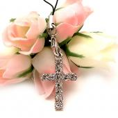 Cubic Stone Diamonds of Cross Cell Phone Charm,Strap - Clear